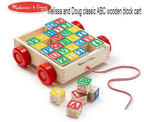 Melissa and Doug classic ABC wooden block cart