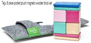 Tegu 8 piece pocket pouch magnetic wooden block set